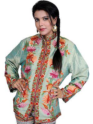 Aqua-Green Kashmiri Jacket with Ari Embroidery by Hand