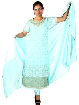 Aqua-Sky Designer Long Chudidar Suit with Zardozi Work on Kameez and Satin Choodidaar