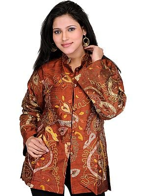 Arabian-Spice Jacket from Kashmir with Ari Embroidery All-Over