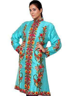 Aruba-Blue Long Jacket with Hand-Embroidered Flowers