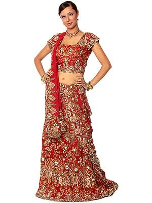 Three-Piece Bridal Red Lehenga With Dense Zardozi All Over
