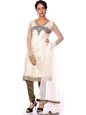Ivory Chudidar Flair Suit with Antique Embroidery and Sequins