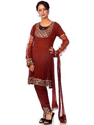 Brown Flared Chudidar Salwar Kameez with Embroidered Sequins