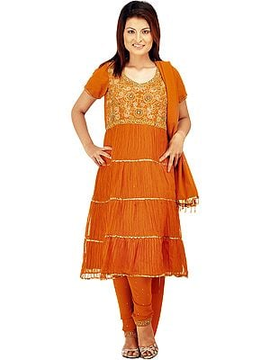 Bombay-Brown Flaired Chudidar Suit with Antique Beadwork