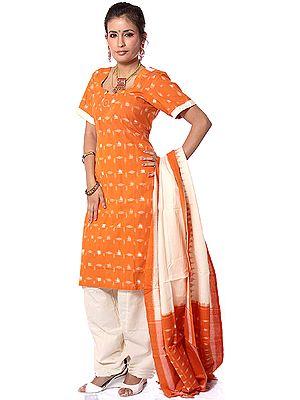 Orange and Cream Salwar Kameez Fabric with Ikat Weave