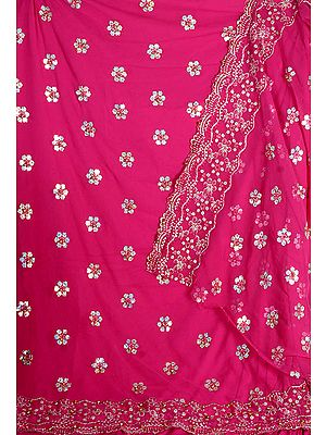 Magenta Georgette Suit with Sequins Embroidered as Flowers