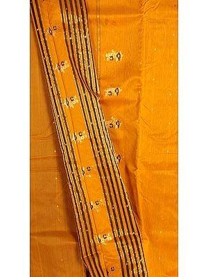 Butterscotch-Orange Chanderi Suit with Large Bootis