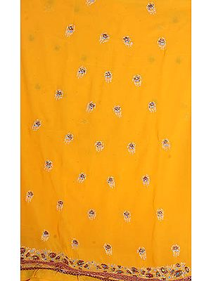 Orange Georgette Suit with Parsi-Embroidered Flowers and Gota Work