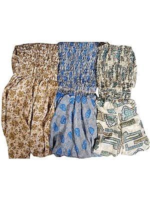 Lot of Three Vintage-Sari Dresses with Harem Trousers