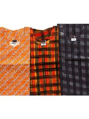 Lot of Three Khadi Unisex Kurta Tops