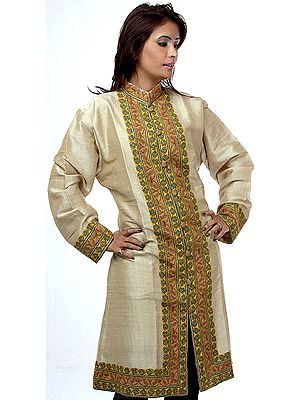 Beige Long Jacket from Kashmir with Ari Embroidery by Hand