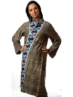 Dark-Gray Front-Open Reversible Unisex Robe from Ranthambore