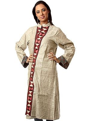 Gray Front-Open Reversible Unisex Robe from Ranthambore