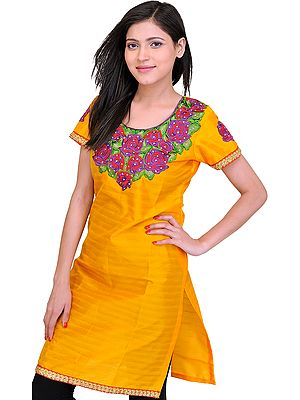Beeswax-Yellow Kurti with Thread Embroidered Patch and Sequins Work