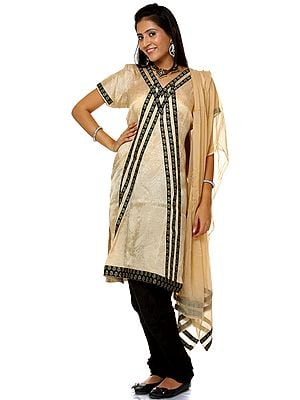 Beige and Black Chudidar Salwar Suit with Self Weave