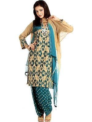 Beige and Blue-Color Salwar Kameez with Velvet Applique and Beadwork