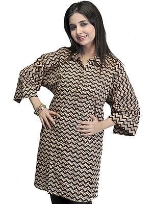 Beige and Brown Kurti From Pilkhuwa with Geometric Print