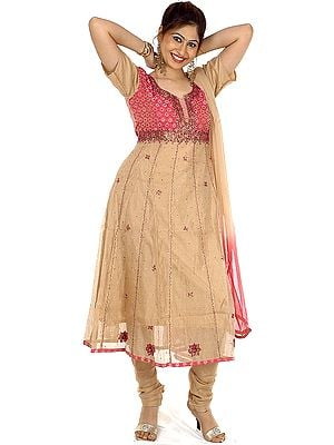 Beige and Pink Anarkali Suit with Sequins and Beadwork