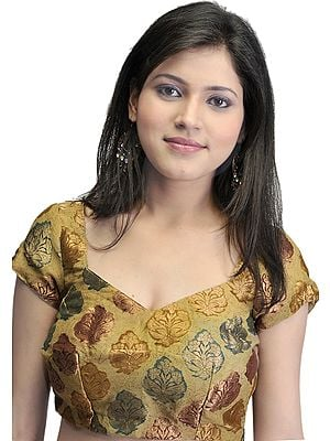 Beige Bollywood Brocade Choli with Woven Bootis