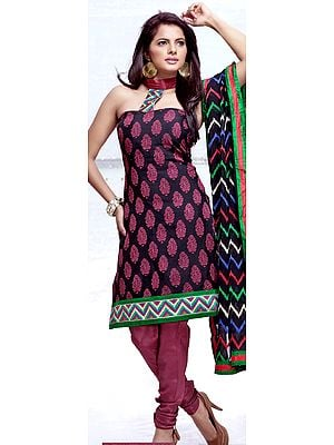 Black and Cerise Chudidar Kameez Suit with Woven Bootis and Patch Border