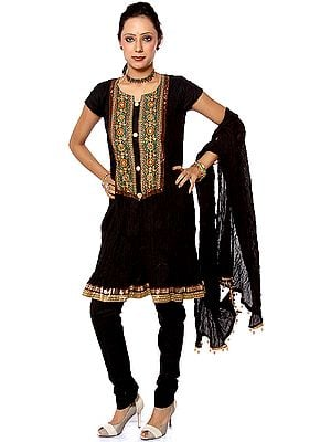 Black Designer Chudidar Suit with Appliqué Work