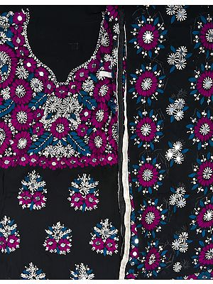 Black Phulkari Salwar Kameez Fabric from Punjab with Ari Embroidered Flowers