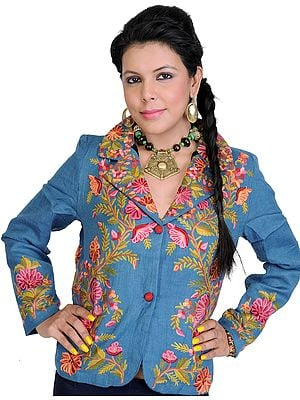 Blue-Heaven Short Jacket from Kashmir with Crewel Embroidered Flowers by Hand