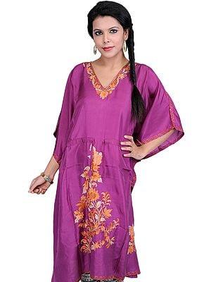 Bright-Purple Kashmiri Short Kaftan with Ari Embroidered Flowers and Dori at Waist
