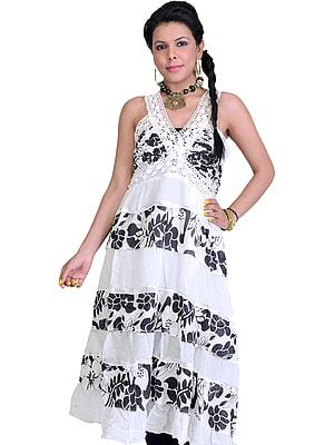 Bright-White Summer Dress with Floral Print and Lace