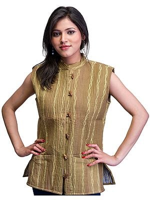 Butternut-Green Layered Reversible Waistcoat from Ranthambore