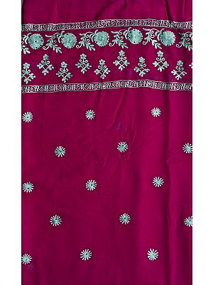 Byzantium-Purple Salwar Kameez Fabric with Ari Embroidered Flowers and Sequins
