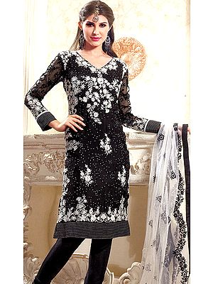Caviar-Black Choodidaar Kameez Suit with Crewel Embroidered Flowers and Sequins in White
