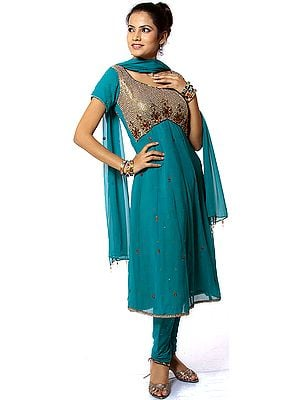 Cerulean Anarkali Suit with Heavy Beadwork on Anchal