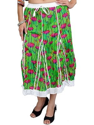 Classic-Green Midi-Skirt with Printed Flowers
