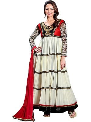 Cloud Cream Anarkali Suit with Crewel Embroidery on Neck
