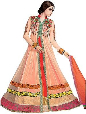 Coral-Sands Designer Wedding Anarkali Suit with Floral Embroidery and Patch Border