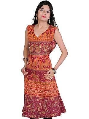 Cordovan Summer Dress With Sanganeri Print