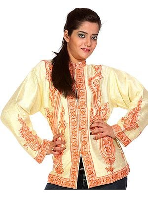 Cream Jacket from Kashmir with Large Embroidered Paisleys by Hand