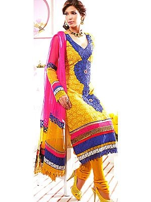 Curry-Mustard Macaw Chudidar Crochet Kameez Suit with Patchwork