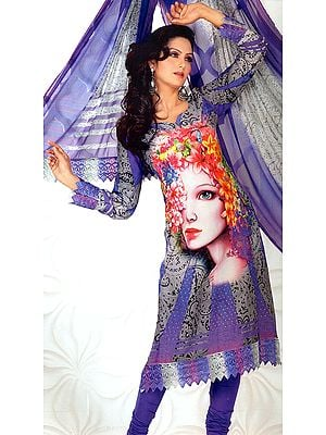 Dusted-Peri and Gray Choodidaar Kameez Suit with Digital Printed Lady and Mokaish Work