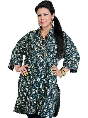 Eclipse-Green Kurti with Black Printed Flowers