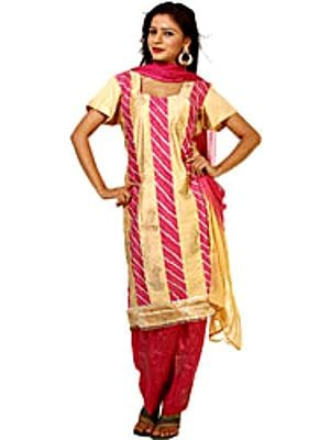 Fawn and Magenta Salwar Kameez Fabric with Gota Work and Painted Leaves
