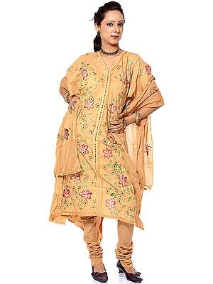 Fawn Salwar Suit with Printed Flowers
