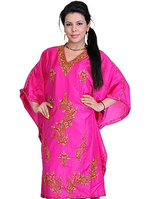 Fuchsia Kashmiri Short Kaftan with Crewel Embroidery by Hand