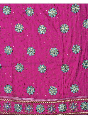 Fuchsia Salwar Kameez Fabric with Ari Embroidered Flowers and Sequins
