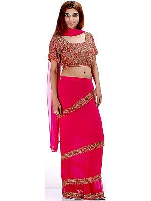 Fuschia Bridal Four Piece Readymade Sari Suit