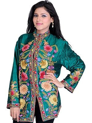 Galapagos-Green Jacket from Kashmir with Floral Embroidery by Hand