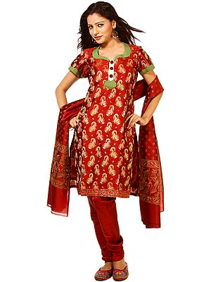 Garnet-Red Brocaded Salwar Suit from Banaras with All-Over Woven Paisleys