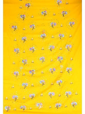 Golden-Yellow Salwar Suit Fabric with Persian Embroidered Flowers and Sequins
