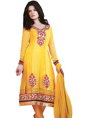 Gold-Fusion Flaired Kameez Suit with Embroidery on Neck and Patch Border